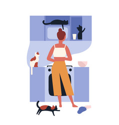 crazy cat lady standing in kitchen full of her vector image