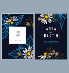 dark wedding invitation card with colored vector image