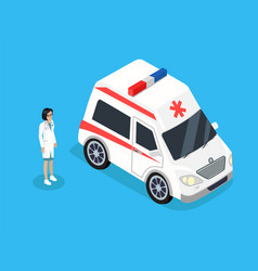 doctor woman and ambulance vector image