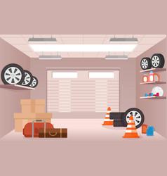 Empty garage interior with vector