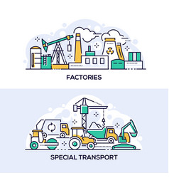 factories and special transport linear banner vector image