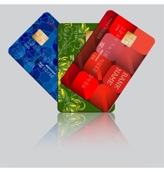 Fan of three multicolored credit cards with vector image