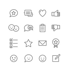 feedback icons thin line icons set testimonials vector image