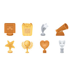 Film awards and prizes icons in set collection for vector