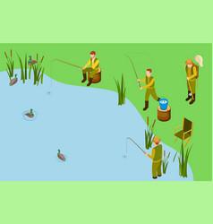 fishermen on lake isometric fishing vector image