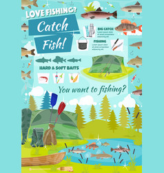 fishing adventure fisher catch fish at lake vector image