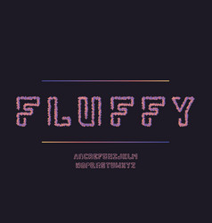 Fluffy font alphabet vector