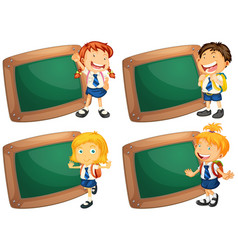 four frames with happy children in school uniform vector image