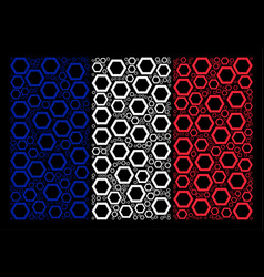 French flag pattern of contour hexagon items vector