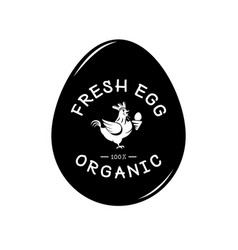 Fresh egg logo with hen and egg form background vector