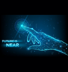 future is near low poly hand wireframe vector image