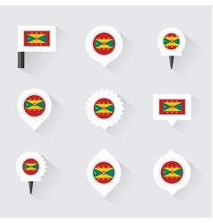 Grenada flag and pins for infographic and map vector
