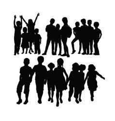 Happy kids activity splhouettes vector