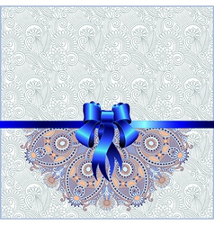 Holiday background with blue ribbon EPS10 vector image