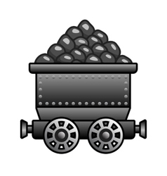 Iron mine cart with coil vector image