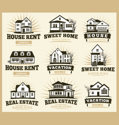Isolated brown color architectural houses icons vector