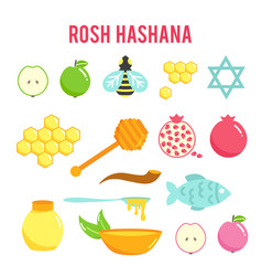 jewish new year rosh hashanah flat icons set vector image