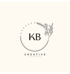 Kb beauty initial logo art handwriting logo vector