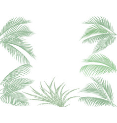 Leaves of tropical palms in pastel tones set vector