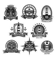 Lighthouse nautcal icons set vector
