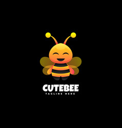 logo cute bee gradient colorful style vector image