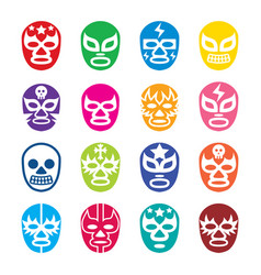lucha libre luchador icons mexican wrestling vector image