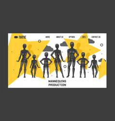 mannequins production banner web design vector image