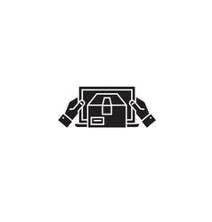 mobile delivery black concept icon mobile vector image