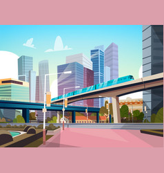 Modern city panorama with high skyscrapers and vector
