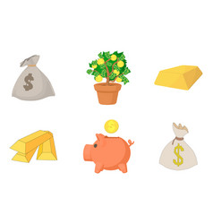 money icon set cartoon style vector image