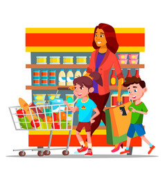 mother with children shopping in hypermarket vector image