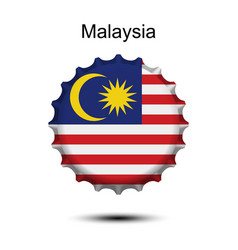 National flag of malaysia on a bottle cap vector