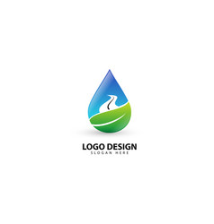Natural drop water leaf and road logo template vector