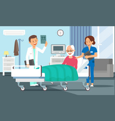 Old man in hospital room flat vector