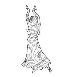 Oriental dancer coloring vector image