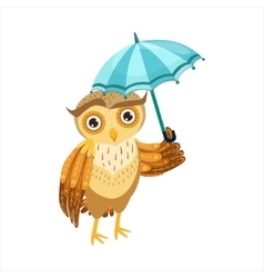 Owl With Umbrella Cute Cartoon Character Emoji vector