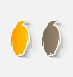 Paper clipped sticker penguin label vector