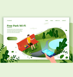 Park banner man on a bench with phone vector