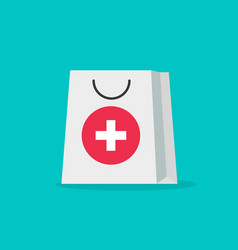Pharmacy bag flat cartoon vector