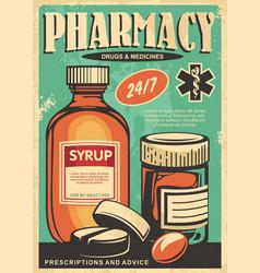 Pharmacy retro poster design vector