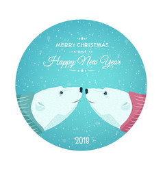 polar bears new year christmas card blue bauble vector image
