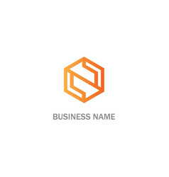 polygon n initial business logo vector image