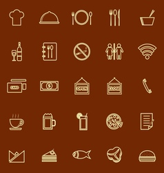 Restaurant line color icons on brown background vector image