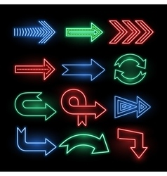 Retro neon direction arrow signs icons vector