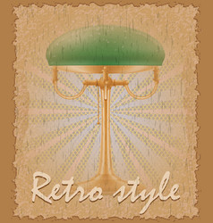 Retro style poster old table lamp vector