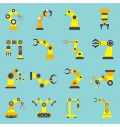 Robotic Arm Flat Yellow Icons Set vector