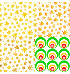 Seamless patterns with cannabis leaves yellow vector