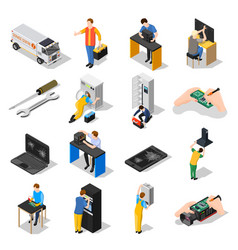 Service centre isometric icons set vector