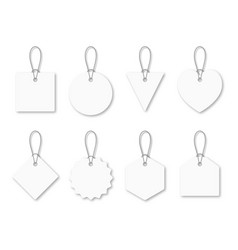 set blank white tags with rope white shopping vector image