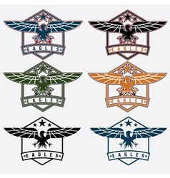 set crests with eagles vector image